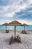 Empty beach Marina di Cottone on Ionian sea. Travel to Italy - empty beach San Marco on Ionian sea coast in Sicily in overcast day Royalty Free Stock Photos