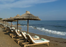 Empty beach on mediterranean shore. Crete Royalty Free Stock Photography