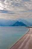 Empty Beach. An Empty Beach with Mountains Royalty Free Stock Photo