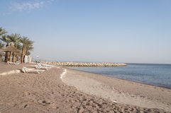 Empty beach near Red sea. Eilat gulf Stock Images
