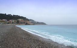 Empty beach,Nice French Riviera Stock Photos