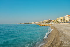 Empty beach in Nice and Promenade des Anglais Stock Photography