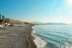 Empty beach in Nice and Promenade des Anglais Stock Photo