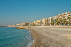 Empty beach in Nice and Promenade des Anglais Stock Images