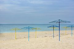 Empty Beach and Parasols Royalty Free Stock Photos