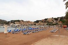 Empty beach in Port de Soller, Majorca. Spain Royalty Free Stock Photos