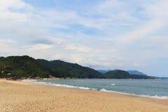Empty beach Praia de Fora and mountains, Trindade, Paraty, Brazi Royalty Free Stock Image