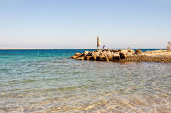 Empty beach of the Red Sea in Egypt without tourists stock image