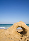 Empty beach with sand castle Royalty Free Stock Images