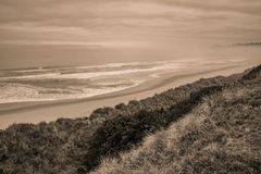 Empty beach and sand dunes during early morning royalty free stock photography