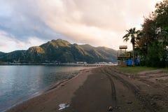 Empty beach. Scenery at Marmaris stock photo