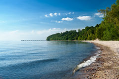 Empty beach at the sea bay. Empty beach in the early morning. Gdynia. Poland Stock Photography