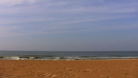 Empty beach on a seaside. Quiet sea and empty seashore stock video footage