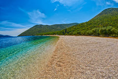 Empty Beach Shore with Transparent Waters Stock Photo