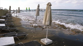 Empty beach because of a storm. Empty Pafos beach because of a storm stock video footage
