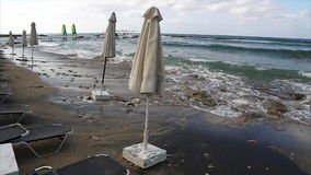 Empty beach because of a storm. Empty Pafos beach because of a storm stock footage