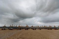 Empty beach with sun umbrellas and sun beds. Recreation area.  Stock Image