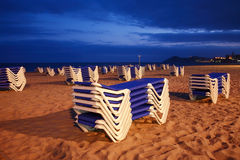 Empty beach with sunbeds Royalty Free Stock Photo