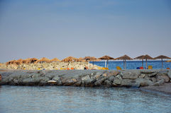 Empty beach with sunbeds Royalty Free Stock Images