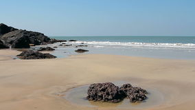 Empty beach at sunny day stock video