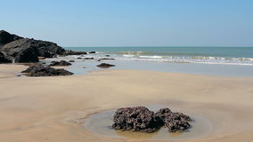 Empty beach at sunny day. Beautiful empty beach at sunny day stock footage