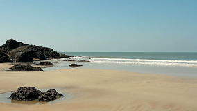 Empty beach at sunny day stock video footage