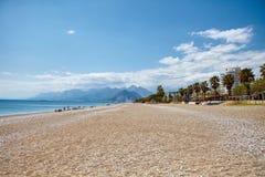 Empty beach. Sunny day at empty sea beach . Batumi, Georgia Royalty Free Stock Photo