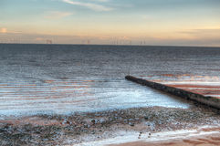 Empty beach during sunset HDR Royalty Free Stock Photos