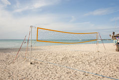 Empty Beach Volleyball Court on the Ocean Royalty Free Stock Image