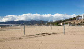 Empty beach volleyball courts Santa Monica Stock Photos