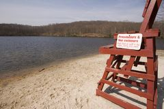Empty Beach Wide. A wide-angle view of an empty beach in fall Royalty Free Stock Photo