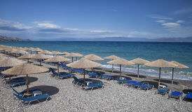 Empty beach of Xylokastro. Gulf of Corinth, Corinthia, Greece stock photo