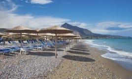Empty beach of Xylokastro. Gulf of Corinth, Corinthia, Greece royalty free stock photo