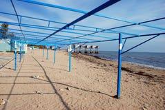 Empty beach in Yevpatoria. Empty beach Yevpatoria in autumn stock photos