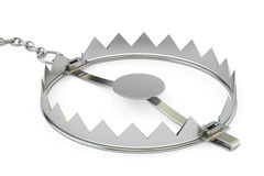 Empty bear trap, 3D rendering. Isolated on white background Royalty Free Stock Images