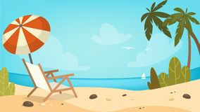 Empty beautiful beach. Empty beautiful beach with chair, umbrella and yacht stock illustration