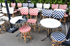 Empty beautiful street cafe restaurant furniture in Paris Royalty Free Stock Photos