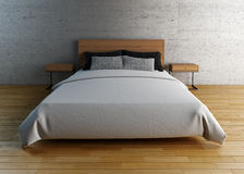 Empty bed with pillows and sheets Stock Photo