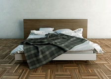 Empty bed with pillows and sheets Stock Photography