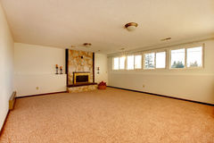 Empty bedroom with fireplace Royalty Free Stock Image