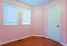 Empty Bedroom in pink color Stock Images