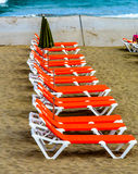 Empty beds on the beach. In Gran Canaria Royalty Free Stock Images