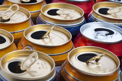 Empty beer aluminum cans. Clous up Royalty Free Stock Image
