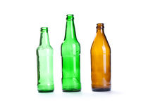 Empty  beer bottle isolated on the white background Royalty Free Stock Images