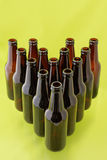 Empty beer bottles from above Stock Image
