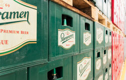 Empty Beer Bottles Aranged In Packs In Brewery Storage Lot Stock Photography