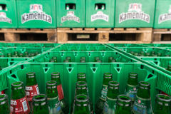 Empty beer bottles aranged in packs in brewery storage lot Royalty Free Stock Image