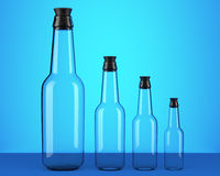 Empty beer bottles. On blue background. 3d illustration Stock Photography