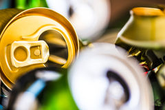 Empty beer cans. Colorful empty beer cans - recyclable metal waste Royalty Free Stock Photos