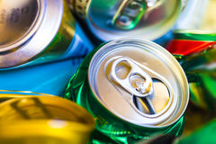 Empty beer cans. Colorful empty beer cans - recyclable metal waste Stock Photo